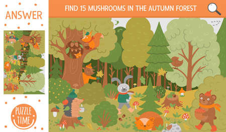 Vector autumn searching game with cute woodland animals. Find hidden mushrooms in the forest. Simple fun educational fall season printable activity for kids Vettoriali
