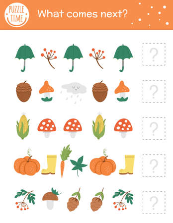 What comes next. Autumn matching activity for preschool children with fall season objects. Funny educational puzzle. Logical quiz worksheet. Continue the row. Simple forest game for kids