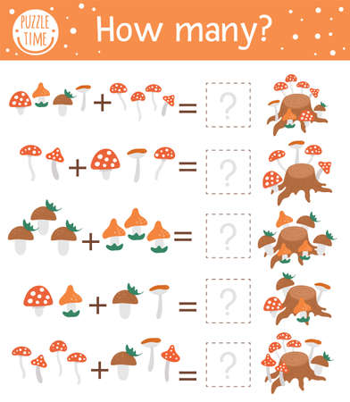 Counting game with mushrooms and tree stump. Autumn activity for preschool children. Fall season math worksheet. Educational printable with cute funny elements for kids