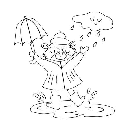 Cute black and white raccoon jumping under the rain with umbrella. Vector line art autumn character isolated on white background. Fall season outline woodland animal icon Funny forest illustration. Vettoriali
