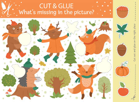Vector autumn cut and glue activity. Fall season educational crafting game with cute forest animals. Fun activity for kids. What's missing in the picture printable worksheet Stock Illustratie