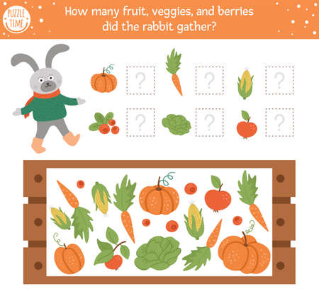 Counting game with vegetables, wooden case and rabbit. Autumn spying activity for preschool children. Fall season math worksheet. Educational printable with cute funny harvest elements for kids