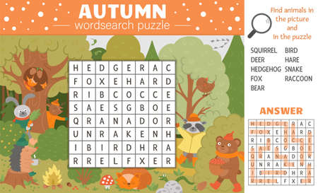 Vector fall season wordsearch puzzle for kids. Simple crossword with autumn scene and hiding forest animals for children. Educational keyword activity with cute funny woodland animals