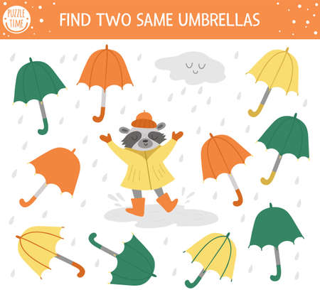 Find two same umbrellas. Autumn matching activity for children. Funny educational fall season logical quiz worksheet for kids. Simple printable game with rain, cloud, and cute raccoon Vettoriali