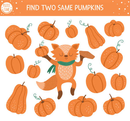 Find two same pumpkins. Autumn matching activity for children. Funny educational fall season logical quiz worksheet for kids. Simple printable game with vegetables and cute orange fox
