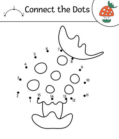 Vector autumn dot-to-dot and color activity with cute mushroom and leaf. Fall season connect the dots game. Funny coloring page for kids with forest plant. Vettoriali