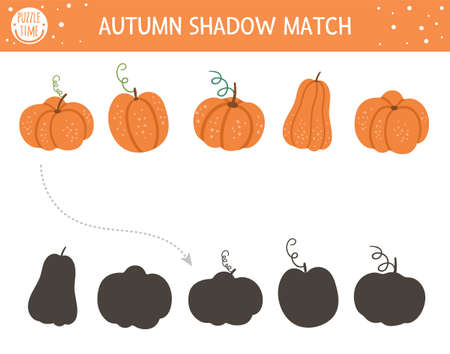 Autumn shadow matching activity for children. Fall season puzzle with cute pumpkins. Simple educational game for kids with vegetables. Find the correct silhouette printable worksheet.