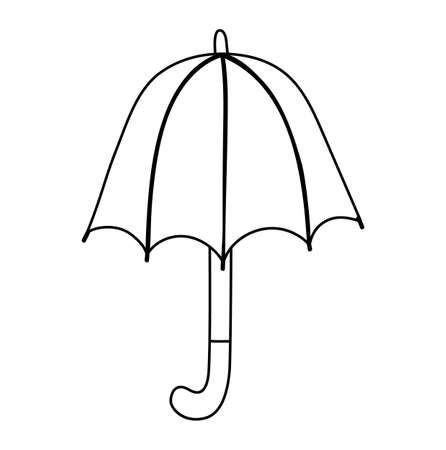 Vector cute black and white umbrella. Autumn line art rain shielding accessory. Funny fall season contour illustration isolated on white background Vettoriali