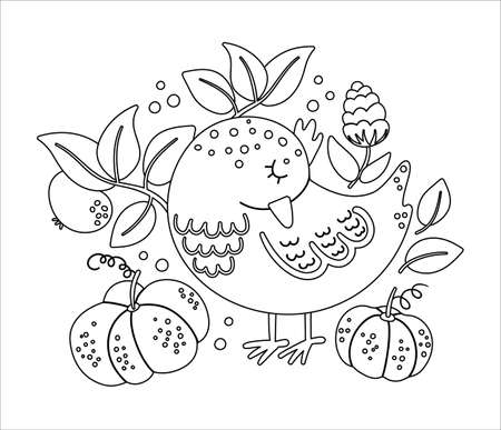 Cute black and white composition with sleeping bird and pumpkins. Vector autumn outline print design isolated on white background. Fall season linear art woodland animal