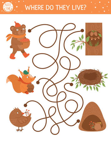 Autumn maze for children. Preschool printable educational activity. Funny fall season puzzle with cute woodland animals and their homes. Where do they live. Forest game for kids.