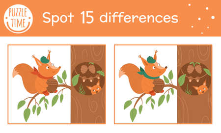 Autumn find differences game for children. Fall season educational activity with squirrel sitting near the tree hollow. Printable worksheet with funny smiling animal. Cute forest scene Vettoriali