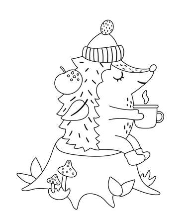 Cute black and white hedgehog sitting on the stump with hot tea near the fire. Vector autumn outline character isolated on white background. Fall season woodland line art animal icon.
