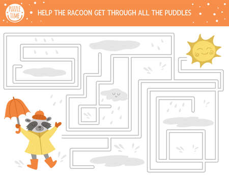 Autumn maze for children. Preschool printable educational activity. Funny fall season puzzle with cute woodland animal, raindrops, cloud, umbrella. Help the raccoon get through all the puddles.