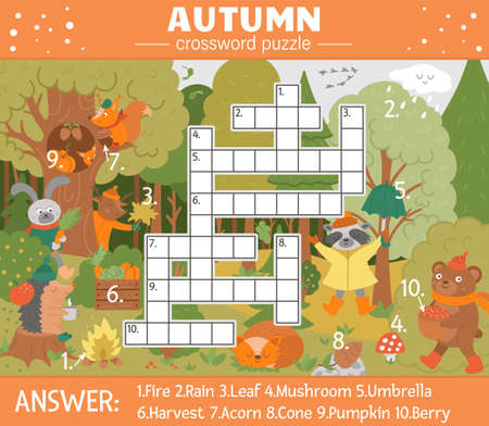 Vector fall season crossword puzzle for kids. Simple quiz with autumn forest objects for children. Educational activity with cute funny woodland animals