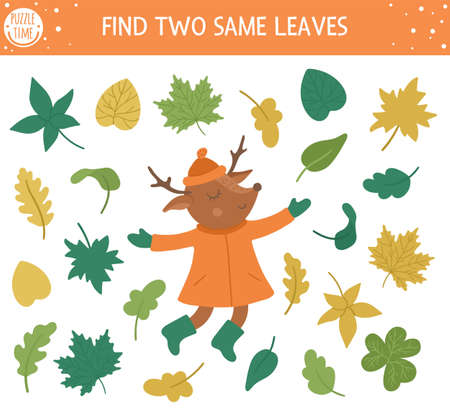 Find two same leaves. Autumn matching activity for children. Funny educational fall season logical quiz worksheet for kids. Simple printable game with plants and cute deer