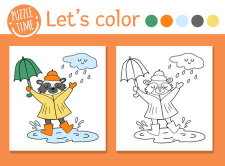 Autumn coloring page for children. Cute funny raccoon with umbrella under rain. Vector fall season outline illustration. Forest animal color book for kids with colored example Vettoriali