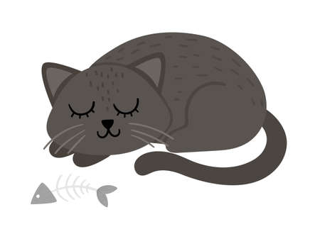 Cute vector sleeping black cat. Halloween character icon. Funny autumn all saints eve illustration with scary animal, sculls, bones. Samhain party sign design for kids.