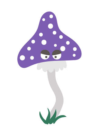 Vector purple mushroom with eyes. Halloween character icon. Cute autumn all saints eve illustration with scary plant. Samhain party sign design for kids.