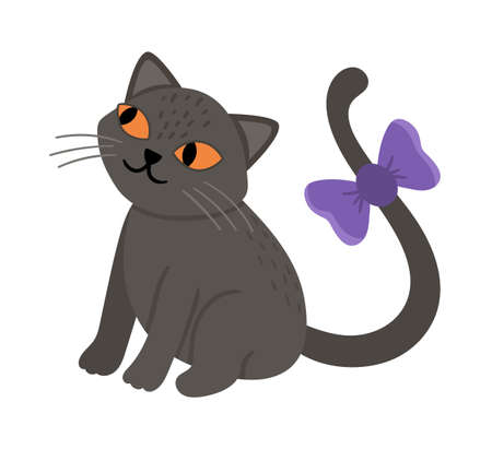 Cute vector sitting black cat with purple bow and orange eyes. Halloween character icon. Autumn all saints eve illustration with scary animal. Samhain party sign design for kids.