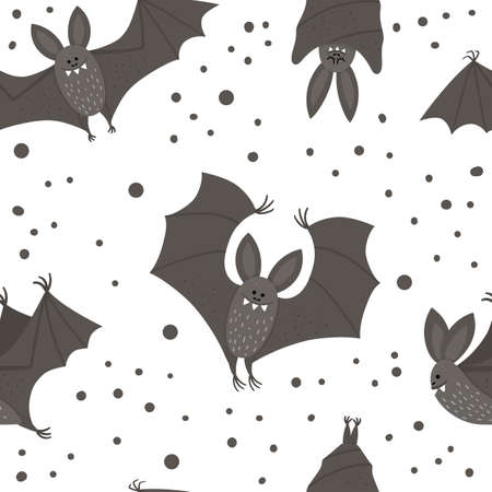 Seamless pattern with cute vector bats. Digital paper with Halloween characters. Funny autumn all saints eve background with flying and sleeping black animals for kids.