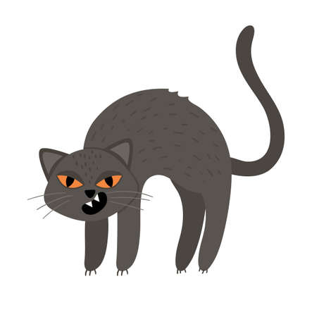 Cute vector black cat with arched spine and orange eyes. Halloween character icon. Funny autumn all saints eve illustration with scary animal. Samhain party sign design for kids.