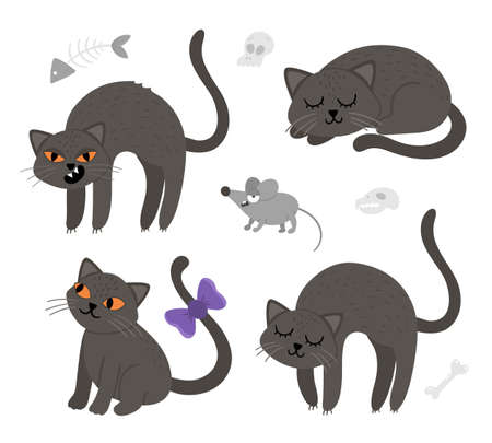 Set of cute vector black cats and mouse. Halloween characters icons collection. Funny autumn all saints eve illustration with scary animals, sculls, bones. Samhain party sign design for kids.