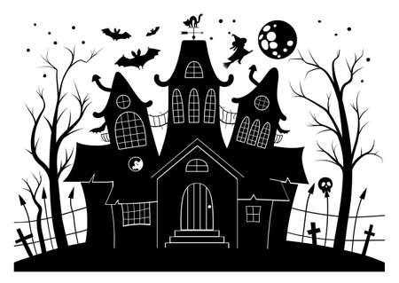 Vector haunted house black and white illustration.