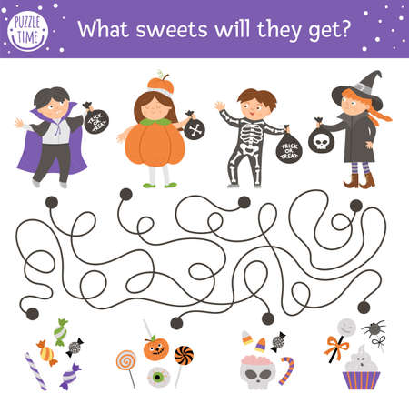 Halloween maze for children. Autumn preschool printable educational activity with kids in costumes. Funny day of the dead game or puzzle with trick or treat scene. What sweets will the children get