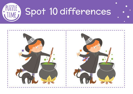 Halloween find differences game for children. Autumn educational activity with funny witch, cauldron and black cat. Printable worksheet with smiling character. Cute all saints day scene