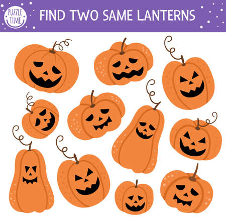 Find two same jack-o-lanterns. Halloween matching activity for children. Funny educational autumn logical quiz worksheet for kids. Simple printable game with scary pumpkin lanterns Ilustração