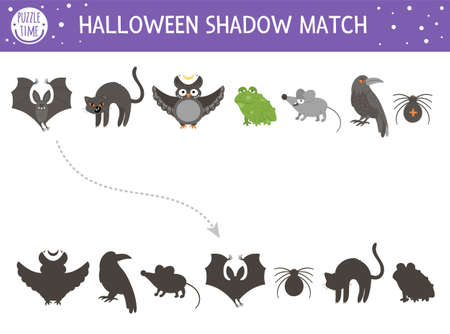 Halloween shadow matching activity for children. Autumn puzzle with scary animals. Educational game for kids with black cat, bat, owl, raven, spider. Find the correct silhouette printable worksheet.