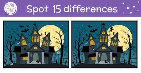 Halloween find differences game for children. Autumn educational activity with funny haunted house. Printable worksheet with spooky cottage. Cute all saints day scene