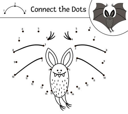 Vector Halloween dot-to-dot and color activity with cute bat. Autumn holiday connect the dots game. Funny coloring page for kids with scary animal.
