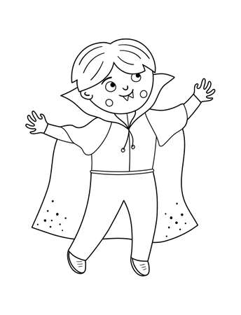 Boy dressed like a vampire. Cute black and white vector Halloween kid character. Child in scary Dracula costume. Funny autumn all saints eve illustration. Samhain dress party coloring page.