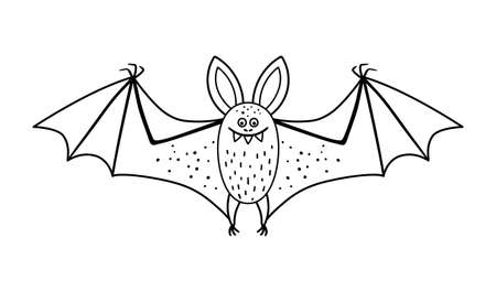 Cute vector black and white bat with spread wings. Halloween character icon. Autumn all saints eve illustration with flying animal. Samhain party coloring page for kids. Иллюстрация