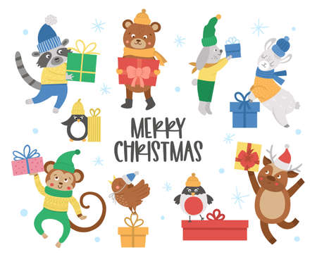 Cute vector animals in hats, scarves and sweaters with presents and snowflakes. Winter set of with gifts. Funny Christmas card designs. New Year print with smiling character