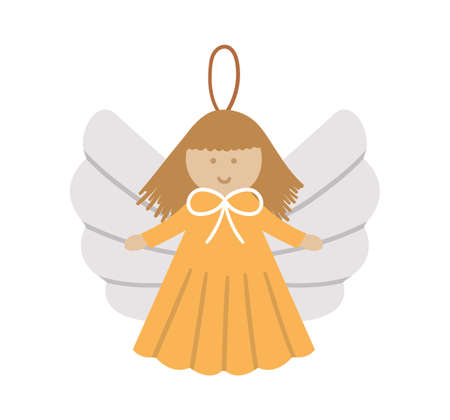 Vector angel for New Year decor. Christmas tree toy isolated on white background. Cute winter Holidays character for festive decorations.