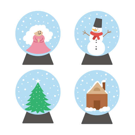Vector set of snow globes with snowman, angel, fir tree, house. New Year decor items pack. Christmas tree toy isolated on white background. Cute winter Holidays balls for festive decorations.