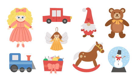 Cute Christmas toys collection. Vector New Year gifts for kids. Santa Claus presents for children. Rocking horse, Teddy bear, doll, gnome, car, train isolated on white background.