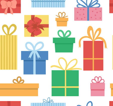 Vector seamless pattern with presents. Funny birthday or Christmas gift boxes background. Bright holiday digital paper for kids. Cheerful celebration texture.