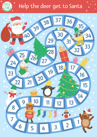 Christmas board game for children with cute animals and Santa Claus. Educational boardgame with fir tree, presents, decorations. Help the deer get to Santa. Funny winter printable activity.