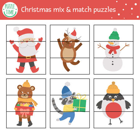 Christmas mix and match puzzle with traditional holiday characters. Winter cut out matching activity for preschool children. Educational New Year printable game for kids