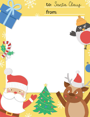 Vector letter to Santa Claus template. Cute Christmas card design. Winter frame layout for kids with funny characters. Festive background with place for text. Illustration