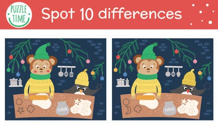 Christmas find differences game for children. Winter educational activity with funny animals backing cookies. Printable worksheet with smiling characters. Cute New Year puzzle for kids 矢量图像