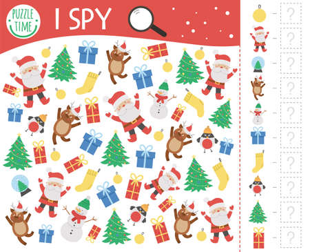 Christmas I spy game for kids. Searching and counting activity for preschool children with traditional New Year objects. Funny winter printable worksheet for kids. Simple holiday spotting puzzle. Stock Illustratie