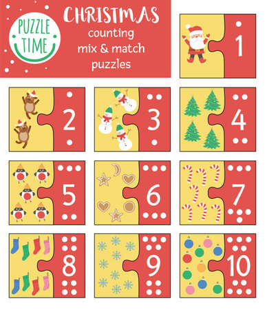Christmas mix and match puzzle with traditional holiday symbols. Winter matching math activity for preschool children. Educational New Year printable counting game for kids