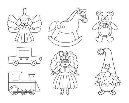 Cute Christmas black and white toys collection. Vector New Year line gifts for kids. Santa Claus presents for children. Rocking horse, Teddy bear, doll, gnome, car, train icons isolated on white background. Stock Illustratie