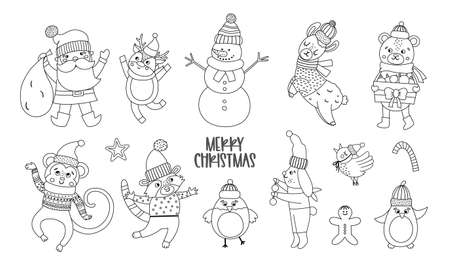 Vector set of black and white Christmas characters. Santa Claus with sack, funny animals, snowman line icons isolated on white background. Cute winter illustration for decorations or new year design.