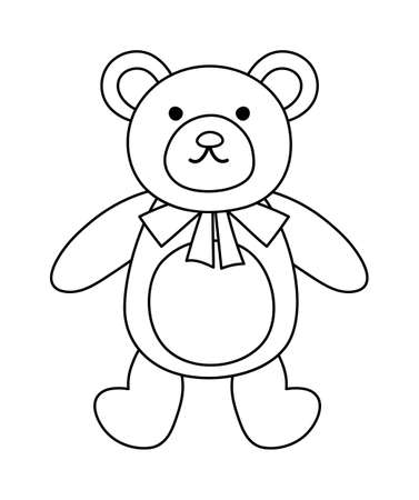 Vector black and white teddy bear isolated on white background. Cute toy animal illustration for kids. Funny smiling character line icon for children
