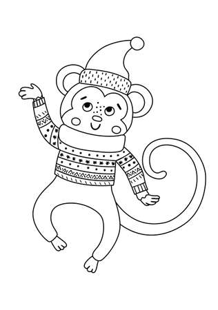 Vector black and white jumping monkey in hat, scarf and sweater. Cute winter animal illustration. Funny Christmas line icon. New Year print with smiling character